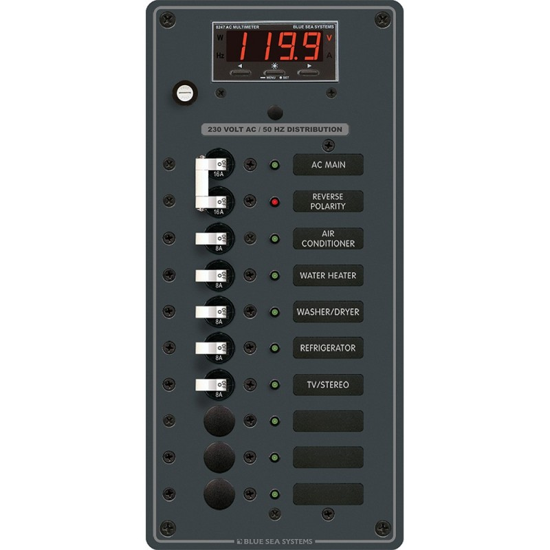 Blue Sea 8506 Breaker Panel - AC Main - 8 Positios -European- - White
