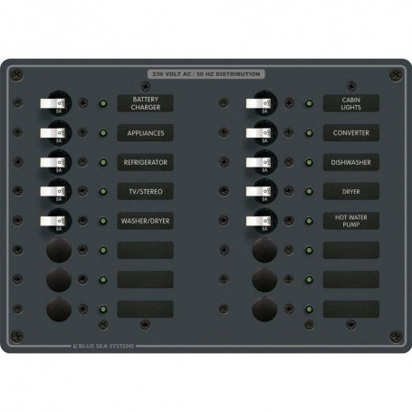 Blue Sea 8561 AC 16 Position 230v -European- Breaker Panel -White Switches-