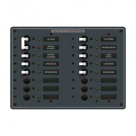 Blue Sea 8564 Breaker Panel - AC Main - 14 Positions -European- - White