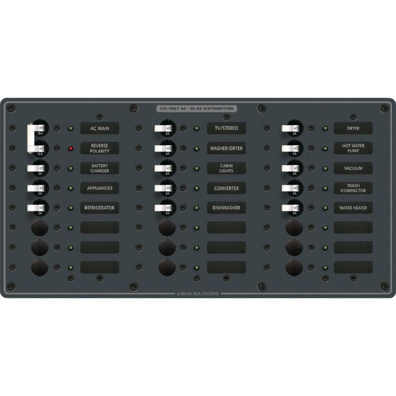 Blue Sea 8565 Breaker Panel - AC Main - 22 Positions -European- - White