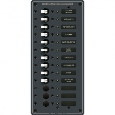 Blue Sea 8580 AC 13 Position 230v -European- Breaker Panel -White Switches-