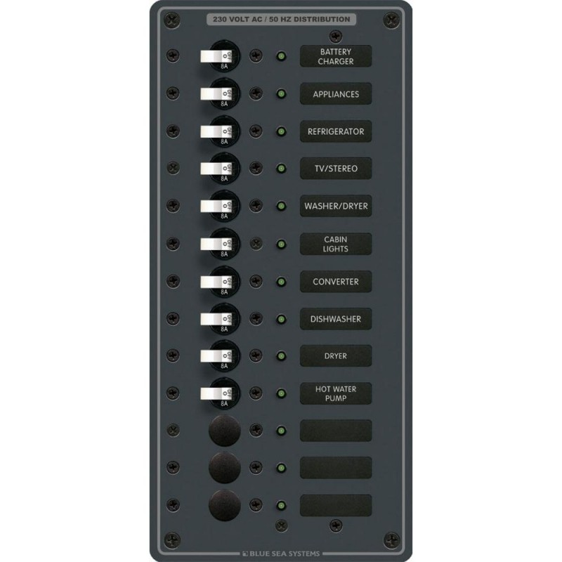 Blue Sea 8580 AC 13 Position 230v -European- Breaker Panel -White Switches-
