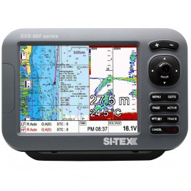 SI-TEX SVS-880CF 8- Chartplotter-Sounder Combo w-Internal GPS Antenna - Navionics- Flexible Coverage Chart Card