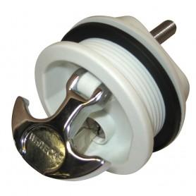 Whitecap T-Handle Latch - Chrome Plated Zamac-White Nylon - Locking - Freshwater Use Only
