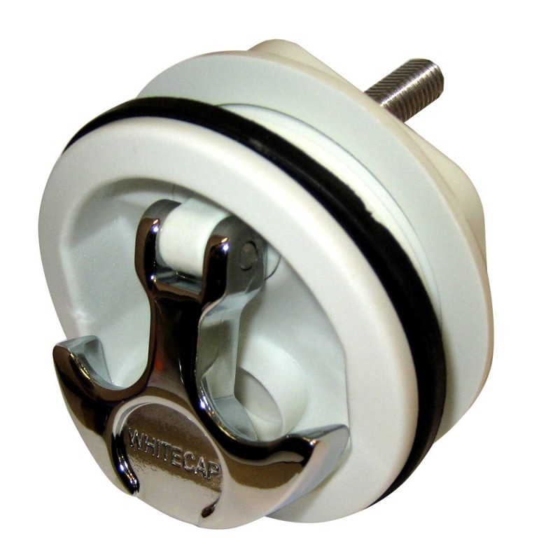Whitecap T-Handle Latch - Chrome Plated Zamac-White Nylon - No Lock - Freshwater Use Only