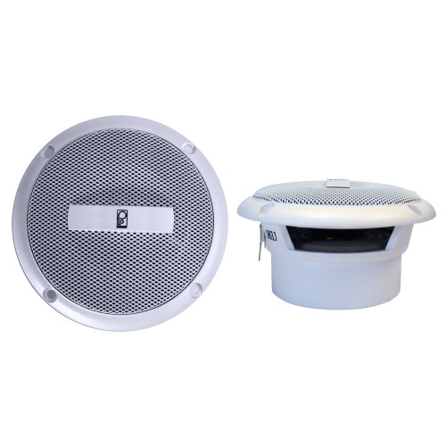 Poly-Planar 3- Round Flush-Mount Compnent Speakers - -Pair- White