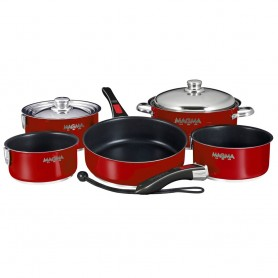 Magma Nesting 10-Piece Induction Compatible Cookware - Magma Red Exterior - Slate Black Ceramica Non-Stick Interior