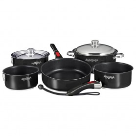 Magma -Nesting- 10-Piece Induction Compatible Cookware - Jet Black Exterior - Slate Black Ceramica Non-Stick Interior