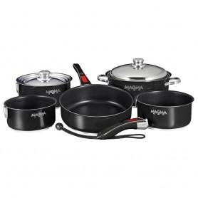 Magma -Nesting- 10-Piece Induction Compatible Cookware - Jet Black Exterior - Slate Black Ceramica Non-Stick Interior
