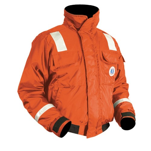 Mustang Classic Bomber Jacket w-SOLAS Reflective Tape - Large - Orange