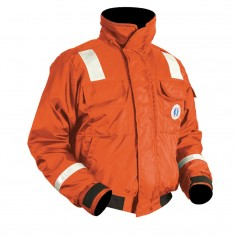 Mustang Classic Bomber Jacket w-SOLAS Reflective Tape - Small - Orange