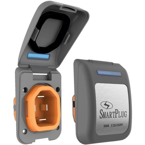SmartPlug 50 Amp Non Metallic Gray Inlet - Boat RV Side
