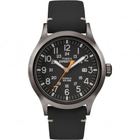 Timex Expedition Metal Scout - Black Leather-Black Dial