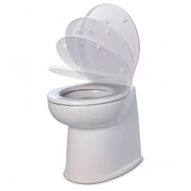 Jabsco 17- Deluxe Flush Raw Water Electric Toilet w-Soft Close Lid - 12V
