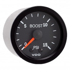 VDO Vision Black 15 PSI Mechanical Boost Gauge - 12V