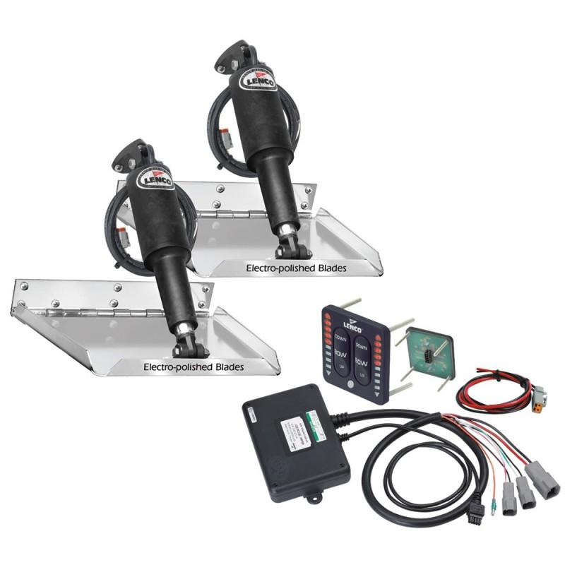 Lenco 9- x 12- Standard Performance Trim Tab Kit w-LED Indicator Switch Kit 12V