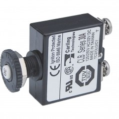 Blue Sea Push Button Reset Only Screw Terminal Circuit Breaker - 30 Amps