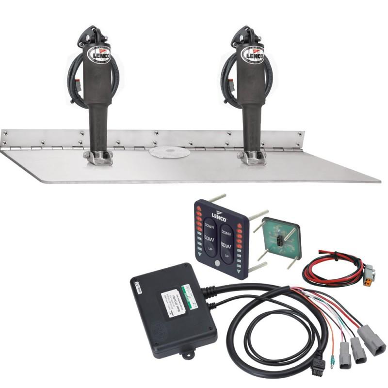 Lenco 16- x 24- Dual Actuator Super Strong Trim Tab Kit w-LED Indicator Switch Kit 12V