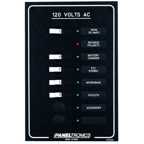 Paneltronics Standard AC 6 Position Breaker Panel - Main w-LEDs
