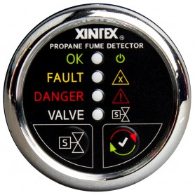 Xintex Propane Fume Detector w-Automatic Shut-Off - Plastic Sensor - No Solenoid Valve - Chrome Bezel Display