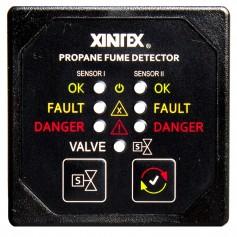 Xintex Propane Fume Detector - Alarm w-2 Plastic Sensors - Solenoid Valve - Square Black Bezel Display
