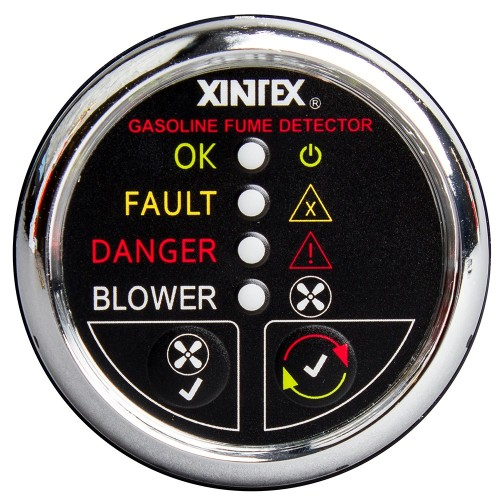 Xintex Gasoline Fume Detector - Blower Control w-Plastic Sensor - Chrome Bezel Display