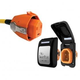 SmartPlug 30 Amp Non Metallic Black Inlet Plug Combo - Boat RV