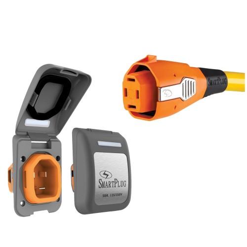 SmartPlug 50 Amp Non Metallic Gray Inlet Plug Combo - Boat RV