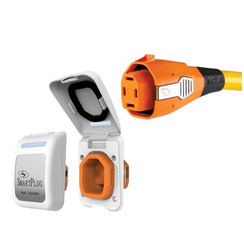 SmartPlug 50 Amp Non Metallic White Inlet Plug Combo - Boat RV