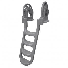 Dock Edge Stand-Off Flip-Up Polyethylene Roto Molded 4-Step Dock Ladder - Grey