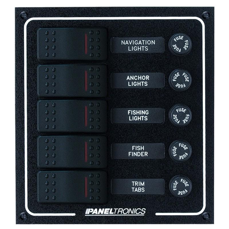 Paneltronics Waterproof DC 5 Position Lighted Rocker - Fuse