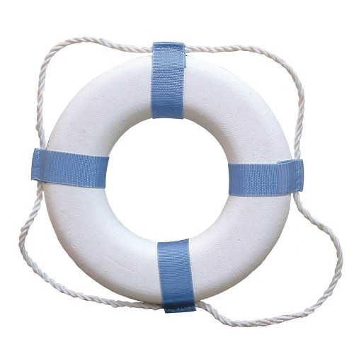 Taylor Made Decorative Ring Buoy - 24- - White-Blue - Not USCG Approved