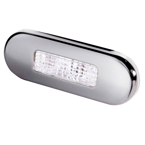 Hella Marine Surface Mount Oblong LED Courtesy Lamp - White LED - Stainless Steel Bezel