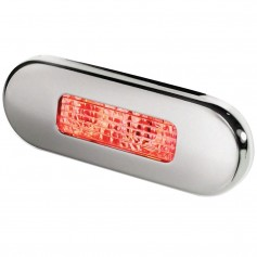 Hella Marine Surface Mount Oblong LED Courtesy Lamp - Red LED - Stainless Steel Bezel
