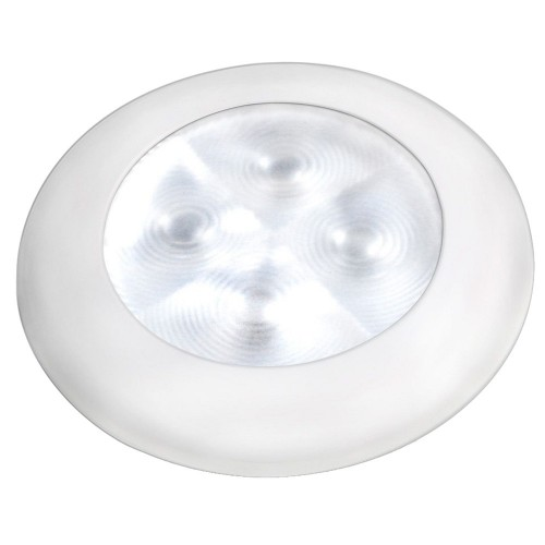 Hella Marine Slim Line LED -Enhanced Brightness- Round Courtesy Lamp - White LED - White Plastic Bezel - 12V