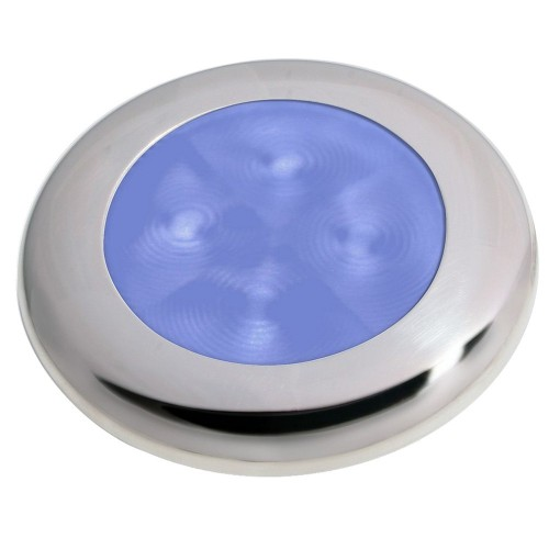 Hella Marine Slim Line LED -Enhanced Brightness- Round Courtesy Lamp - Blue LED - Stainless Steel Bezel - 12V
