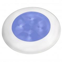 Hella Marine Slim Line LED -Enhanced Brightness- Round Courtesy Lamp - Blue LED - White Plastic Bezel - 12V