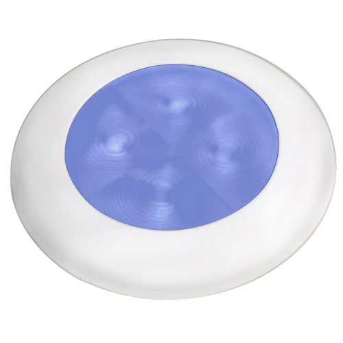 Hella Marine Slim Line LED -Enhanced Brightness- Round Courtesy Lamp - Blue LED - White Plastic Bezel - 12V