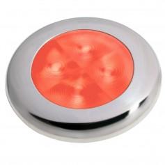 Hella Marine Slim Line LED -Enhanced Brightness- Round Courtesy Lamp - Red LED - Stainless Steel Bezel - 12V