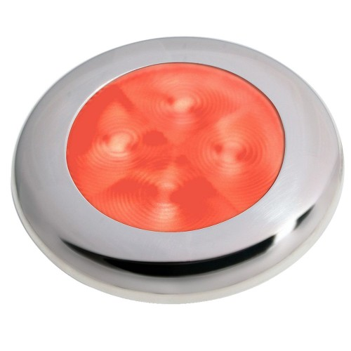Hella Marine Slim Line LED -Enhanced Brightness- Round Courtesy Lamp - Red LED - Stainless Steel Bezel - 12V