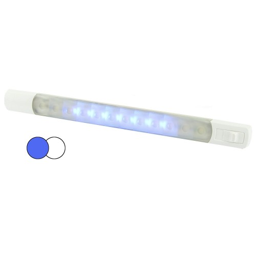 Hella Marine Surface Strip Light w-Switch - White-Blue LEDs - 12V