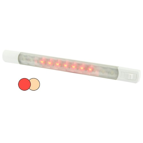 Hella MarineSurface Strip Light w-Switch - Warm White-Red LEDs - 12V