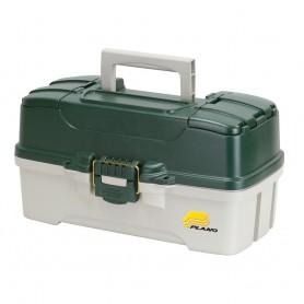 Plano 3-Tray Tackle Box w-Dual Top Access - Dark Green Metallic-Off White