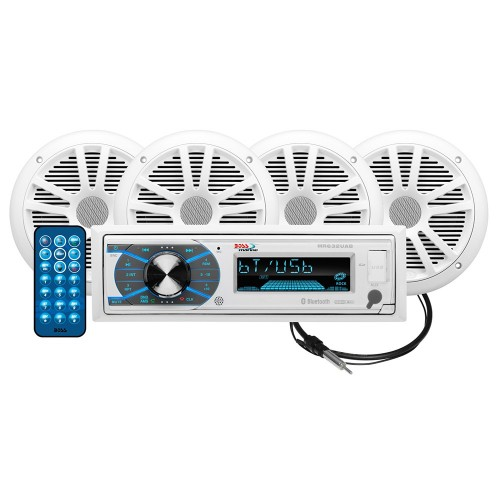 Boss Audio MCK632WB-64 Package w-MR632UAB AM-FM CD Receiver- 2 Pair of 6-5- MR6W Speakers MRANT10 Antenna