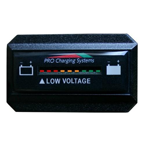 Dual Pro Battery Fuel Gauge - DeltaView Link Compatible - Rectangle - 12V System -1-12V Battery- 2-6V Batteries-