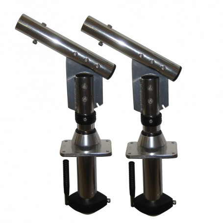 Lee-s Sidewinder Bolt-In Outrigger Mounts- Lay-Down Version - Silver-Pair-