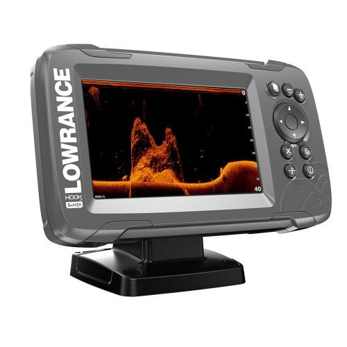 Lowrance HOOK-5x 5- GPS SplitShot Fishfinder w-Track Plotter Transom Mount SplitShot Transducer