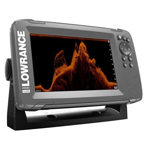 Lowrance HOOK-7x 7- GPS SplitShot Fishfinder w-Track Plotter Transom Mount SplitShot Transducer
