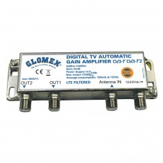 Glomex Auto Gain Control Amp - 12-24VDC f-2 TV Outputs