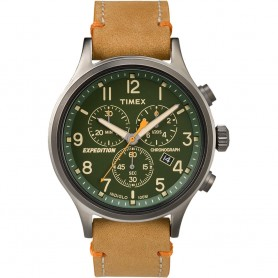 Timex Expedition Scout Chronograph Leather Watch - Green Dial